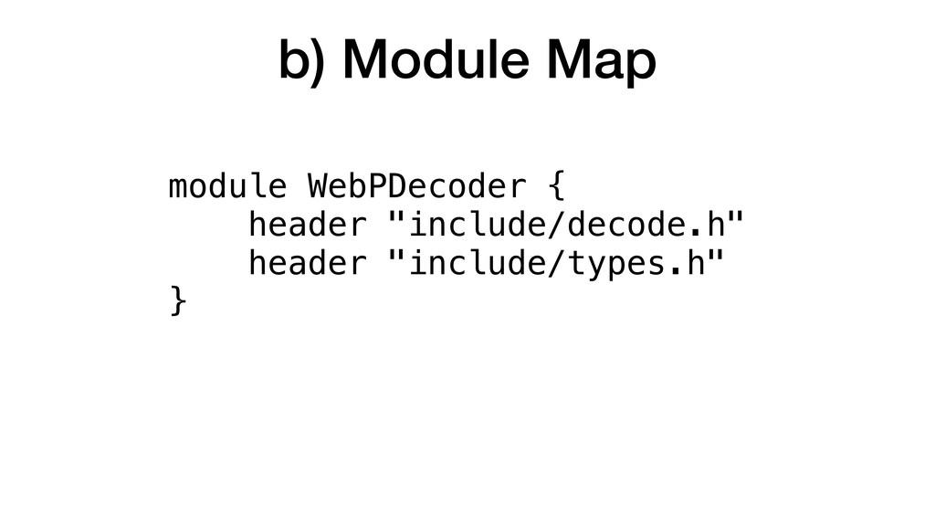 """b) Module Map module WebPDecoder { header """"incl..."""