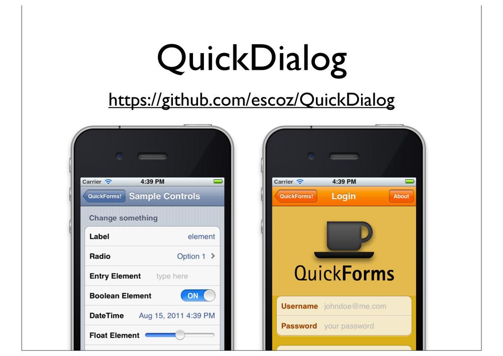 QuickDialog https://github.com/escoz/QuickDialog