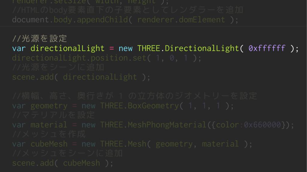 renderer.setSize( width, height ); //HTMLのbody要...