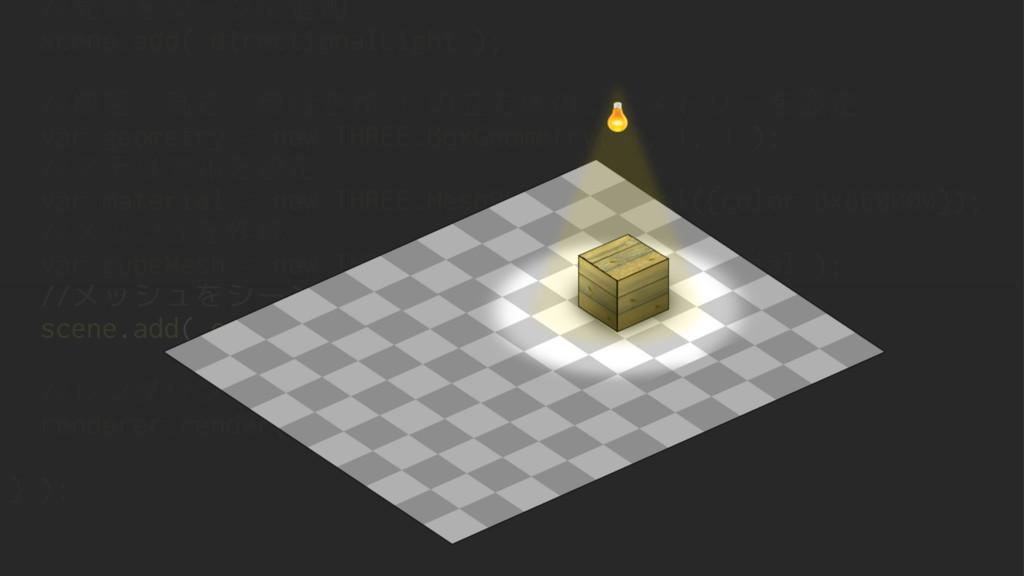//光源をシーンに追加 scene.add( directionalLight ); //横幅...