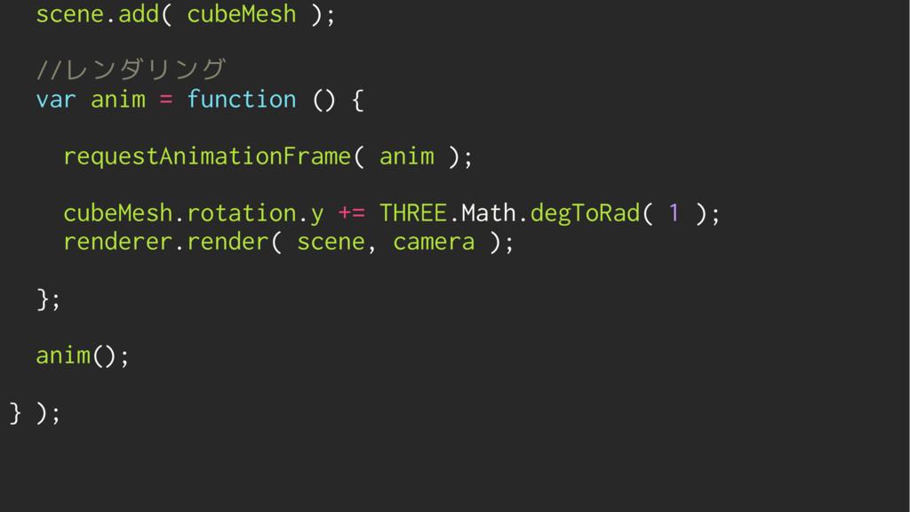 scene.add( cubeMesh ); //レンダリング var anim = func...