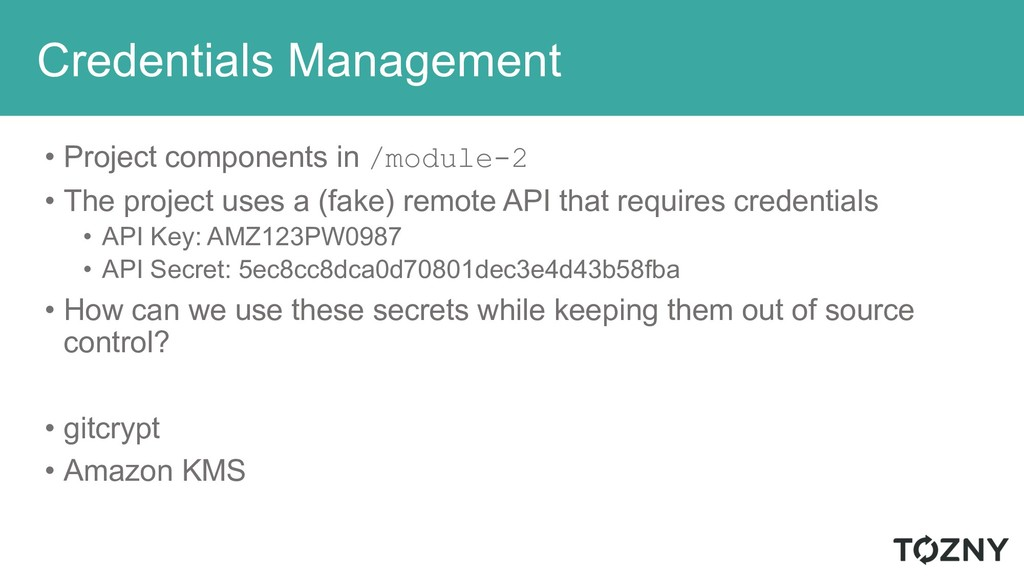 Credentials Management • Project components in ...