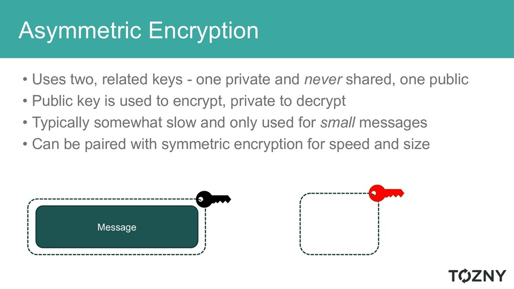Asymmetric Encryption • Uses two, related keys ...