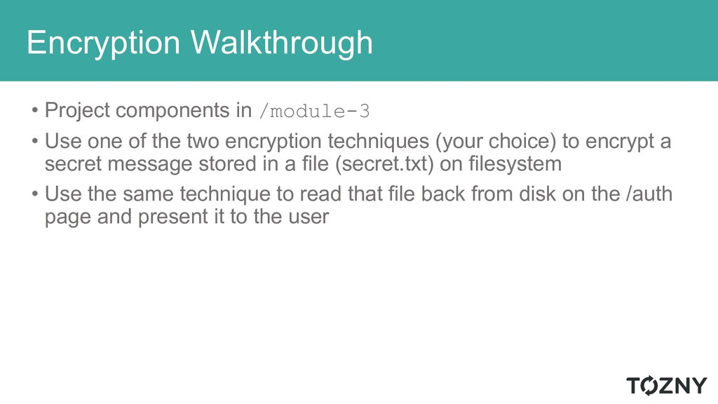 Encryption Walkthrough • Project components in ...