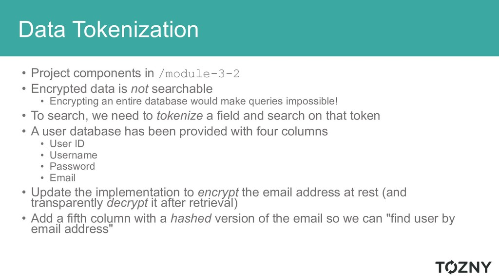 Data Tokenization • Project components in /modu...