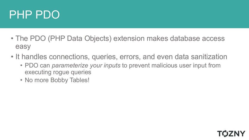 PHP PDO • The PDO (PHP Data Objects) extension ...
