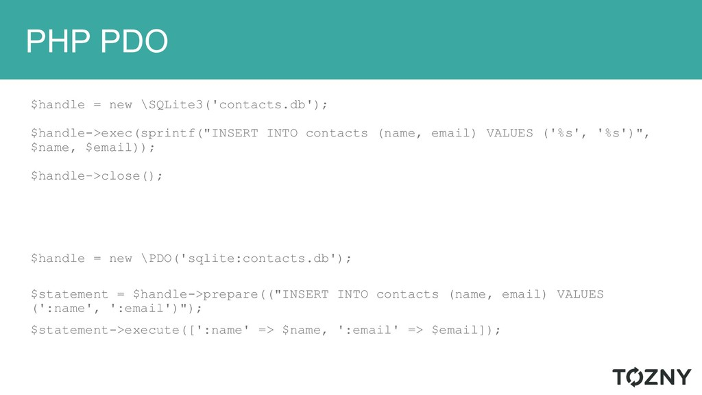 PHP PDO $handle = new \SQLite3('contacts.db'); ...