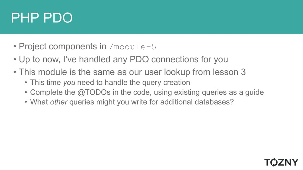 PHP PDO • Project components in /module-5 • Up ...