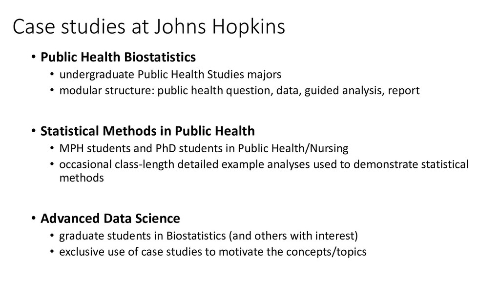 Case studies at Johns Hopkins • Public Health B...