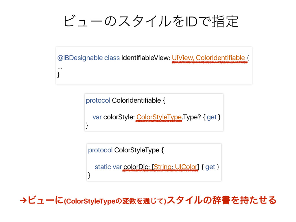 protocol ColorIdentifiable { var colorStyle: Co...
