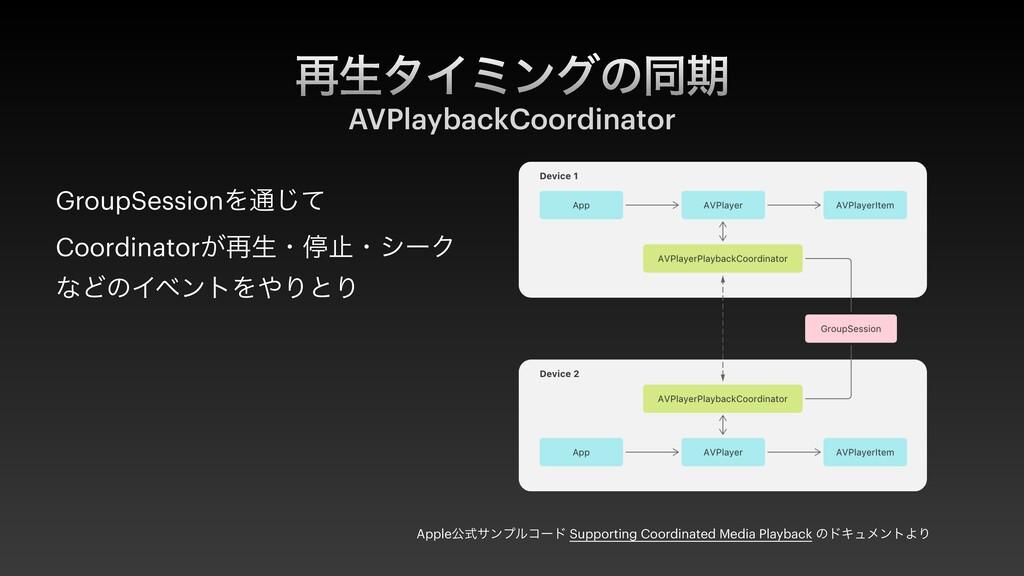 ࠶ੜλΠϛϯάͷಉظ AVPlaybackCoordinator Appleެࣜαϯϓϧίʔυ...