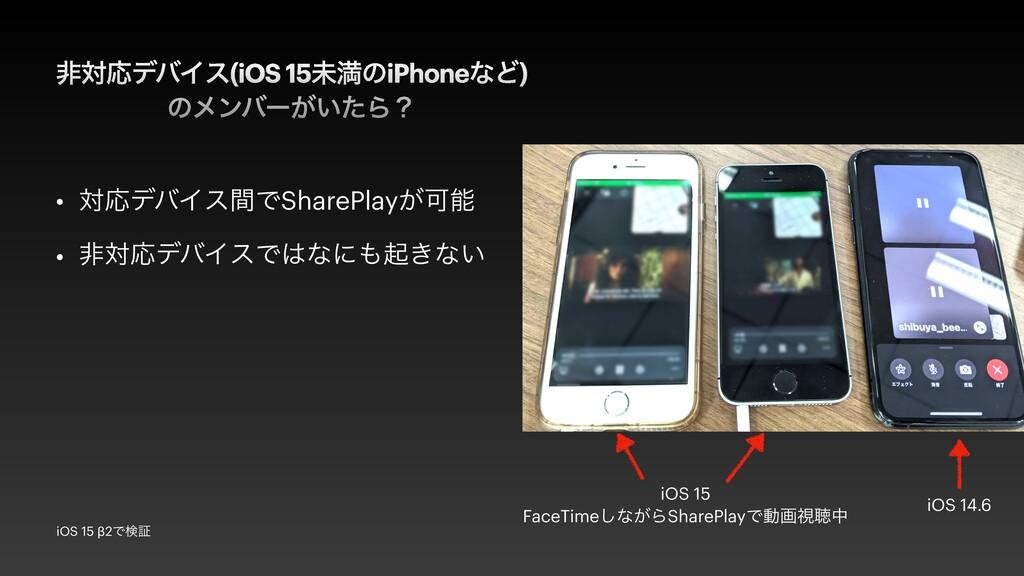 ඇରԠσόΠε(iOS 15ະຬͷiPhoneͳͲ)   ͷϝϯόʔ͕͍ͨΒʁ • ରԠσόΠ...