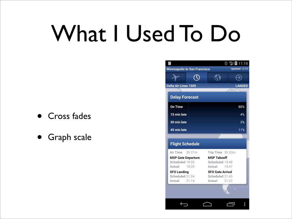 What I Used To Do • Cross fades • Graph scale