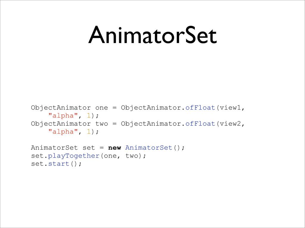 AnimatorSet ObjectAnimator one = ObjectAnimator...
