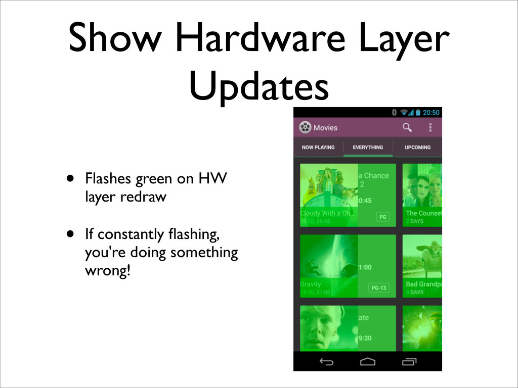 Show Hardware Layer Updates • Flashes green on ...