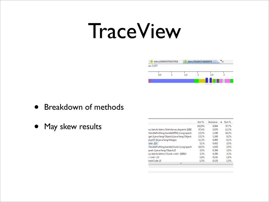 TraceView • Breakdown of methods • May skew res...