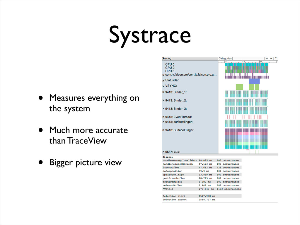 Systrace • Measures everything on the system • ...