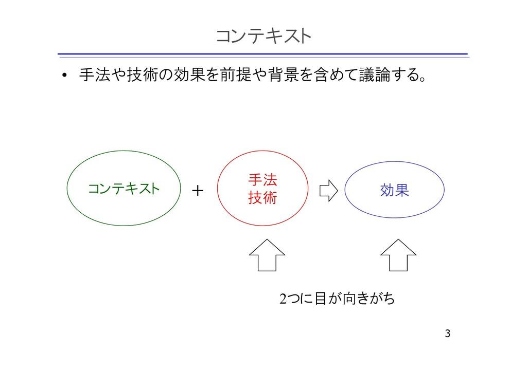 コンテキスト • 手法や技術の効果を前提や背景を含めて議論する。 3 コンテキスト 手法 技術...