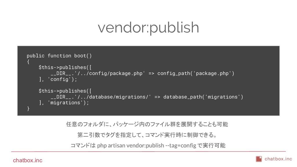 chatbox.inc vendor:publish public function boot...