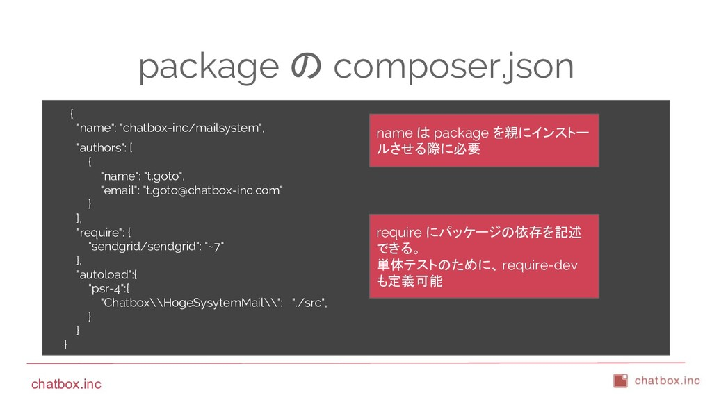 """chatbox.inc package の composer.json { """"name"""": """"..."""