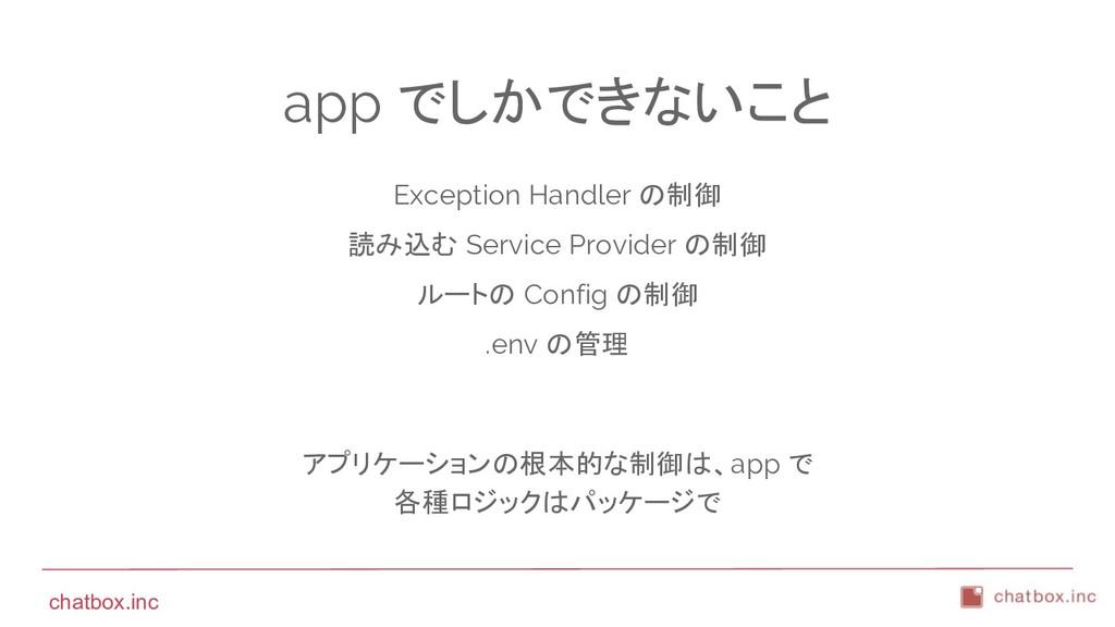 chatbox.inc app でしかできないこと Exception Handler の制御...