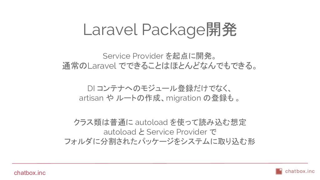 chatbox.inc Laravel Package開発 Service Provider ...