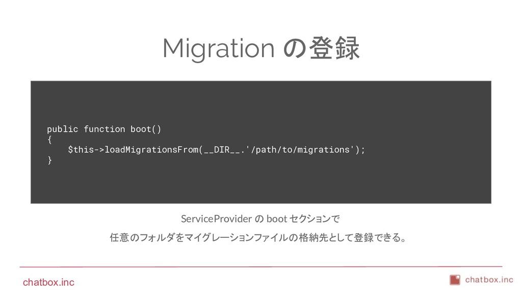 chatbox.inc Migration の登録 public function boot(...