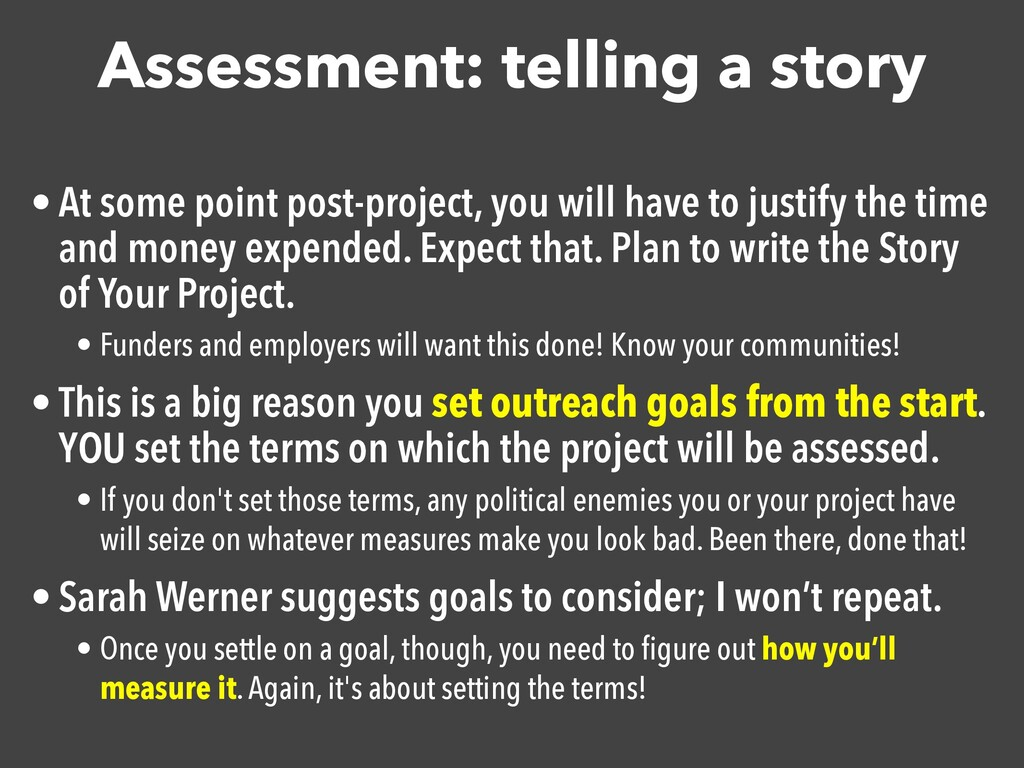 Assessment: telling a story • At some point pos...