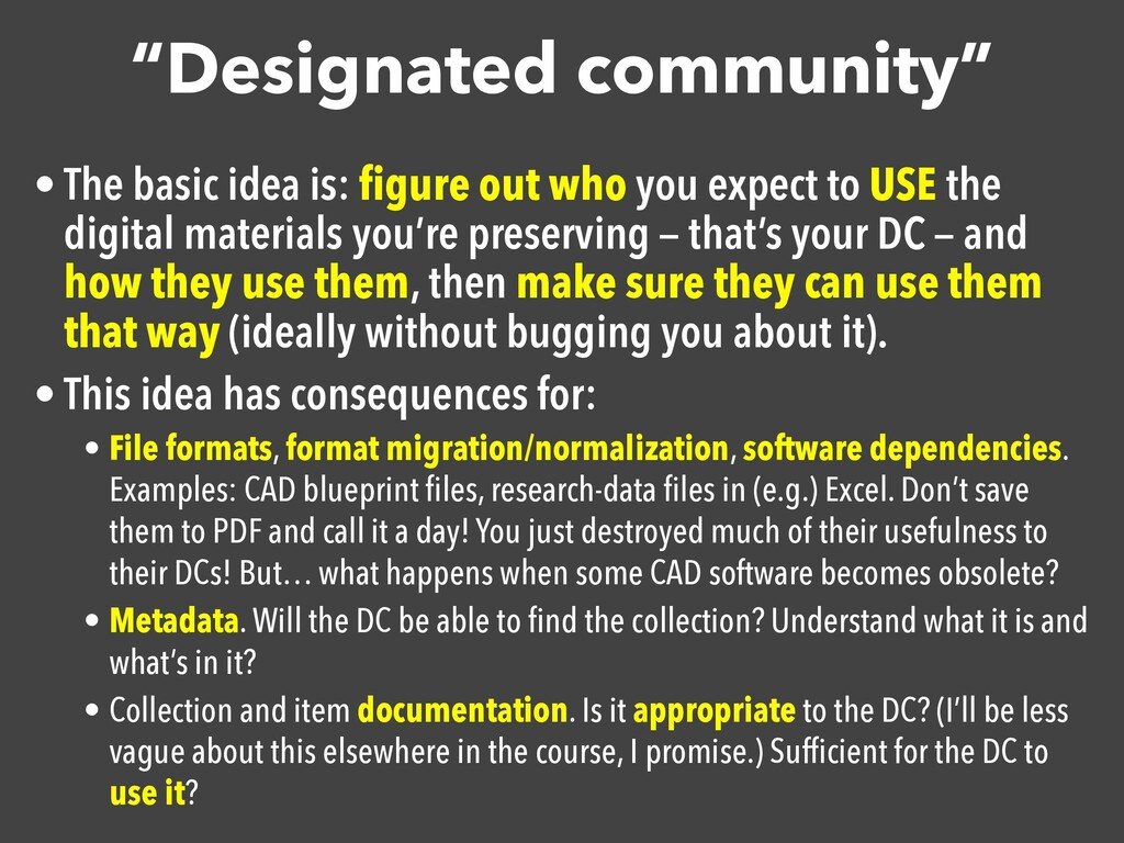 """Designated community"" • The basic idea is: figu..."