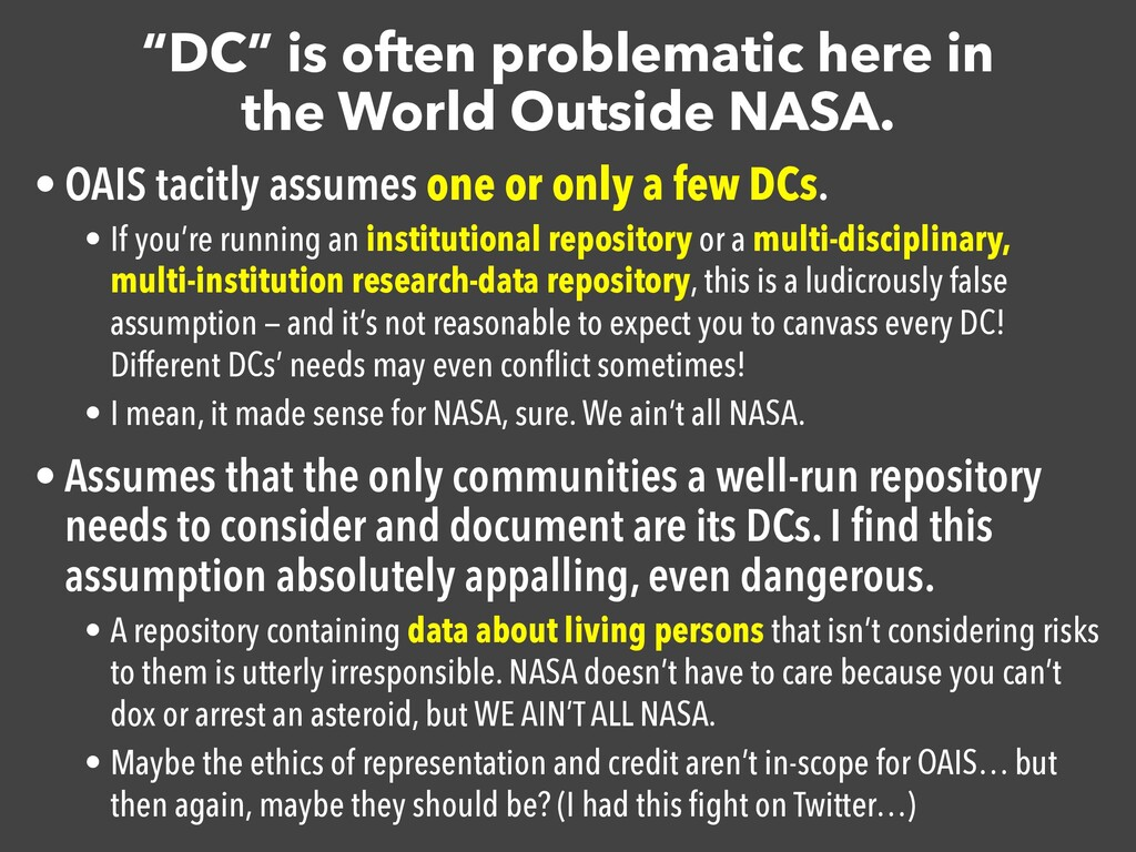 """DC"" is often problematic here in the World Out..."
