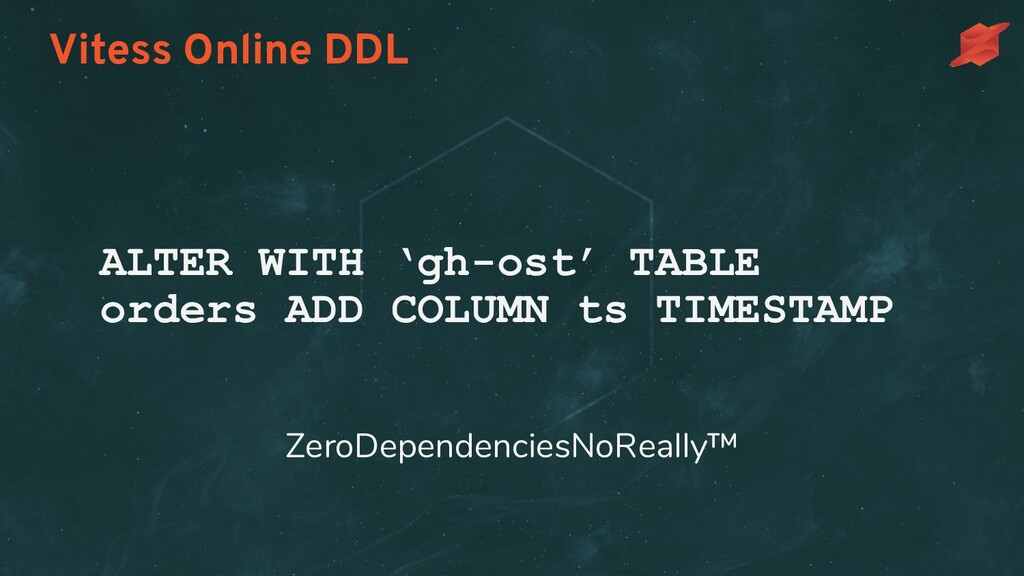 Vitess Online DDL ALTER WITH 'gh-ost' TABLE ord...