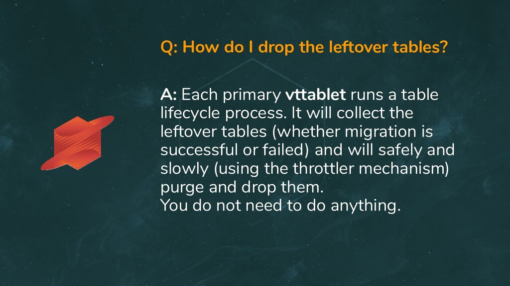 Q: How do I drop the leftover tables? A: Each p...