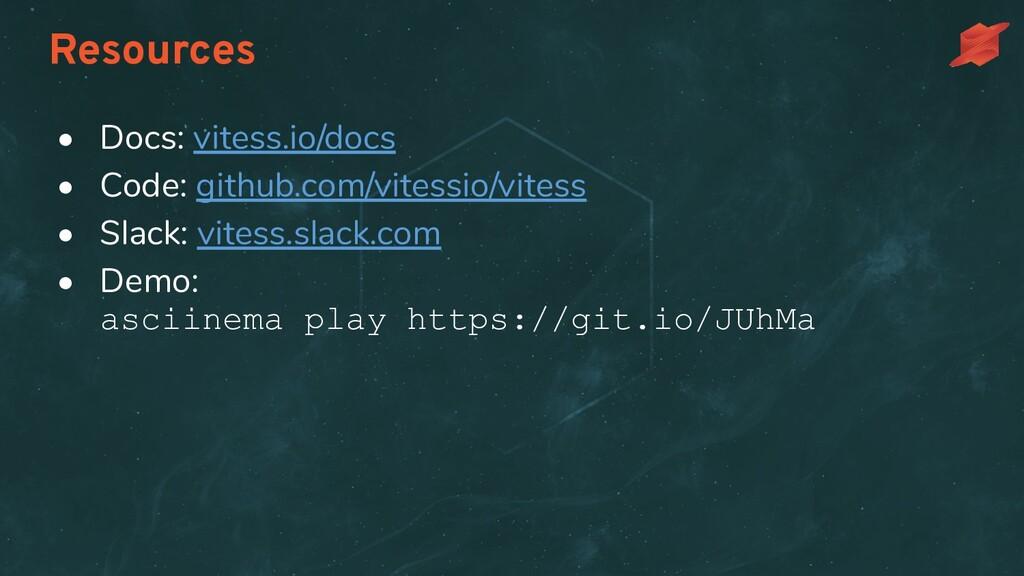 Resources • Docs: vitess.io/docs • Code: github...