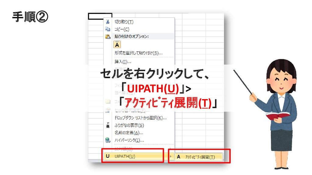 セルを右クリックして、 「UIPATH(U)」> 「アクティビティ展開(T)」 手順②