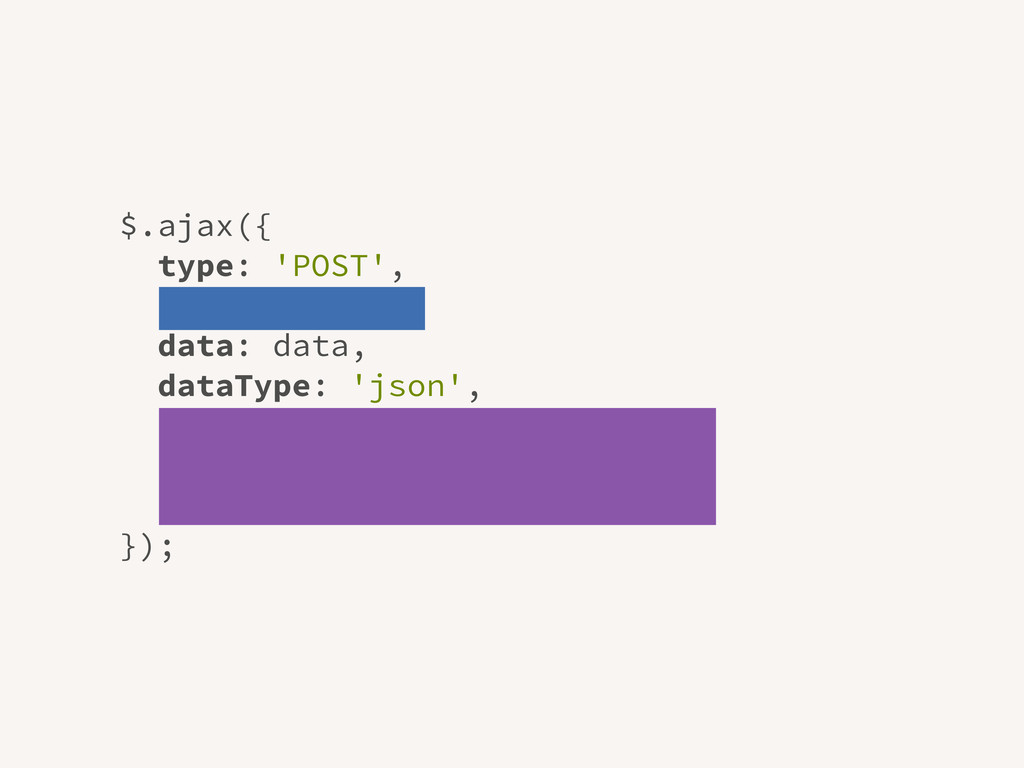 $.ajax({ type: 'POST', url: '/post/', data: dat...