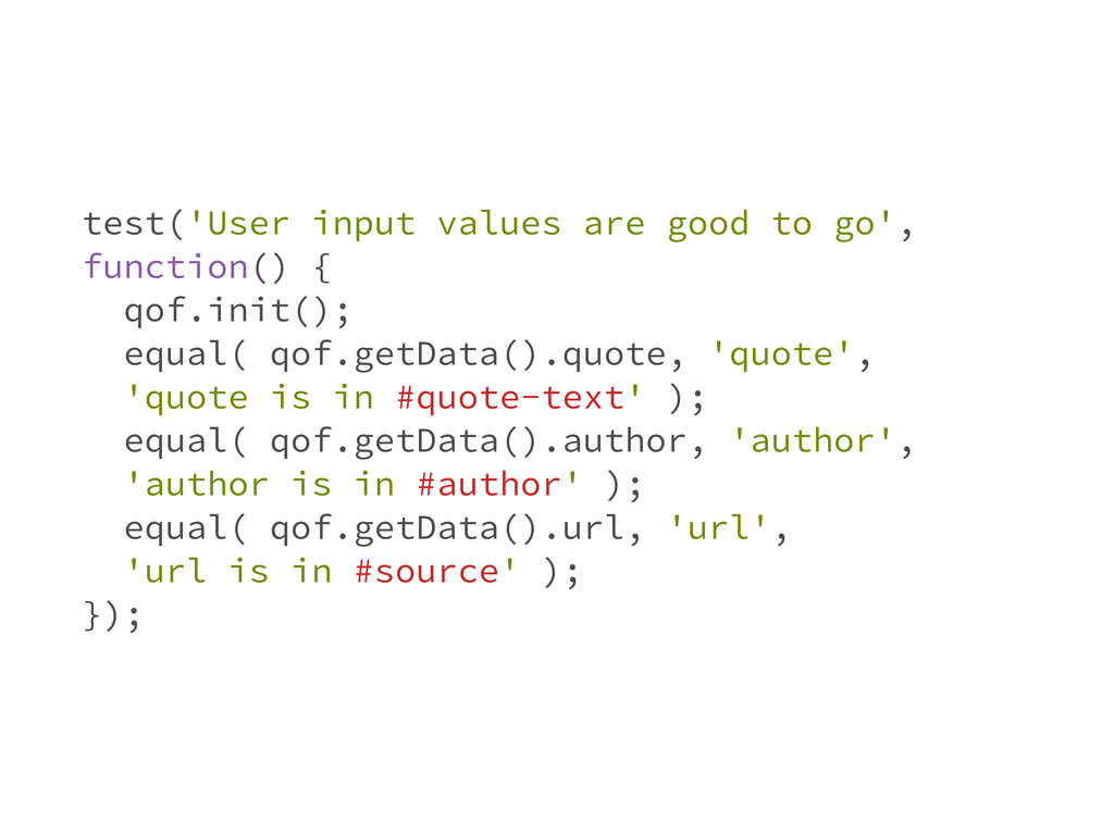 test('User input values are good to go', functi...