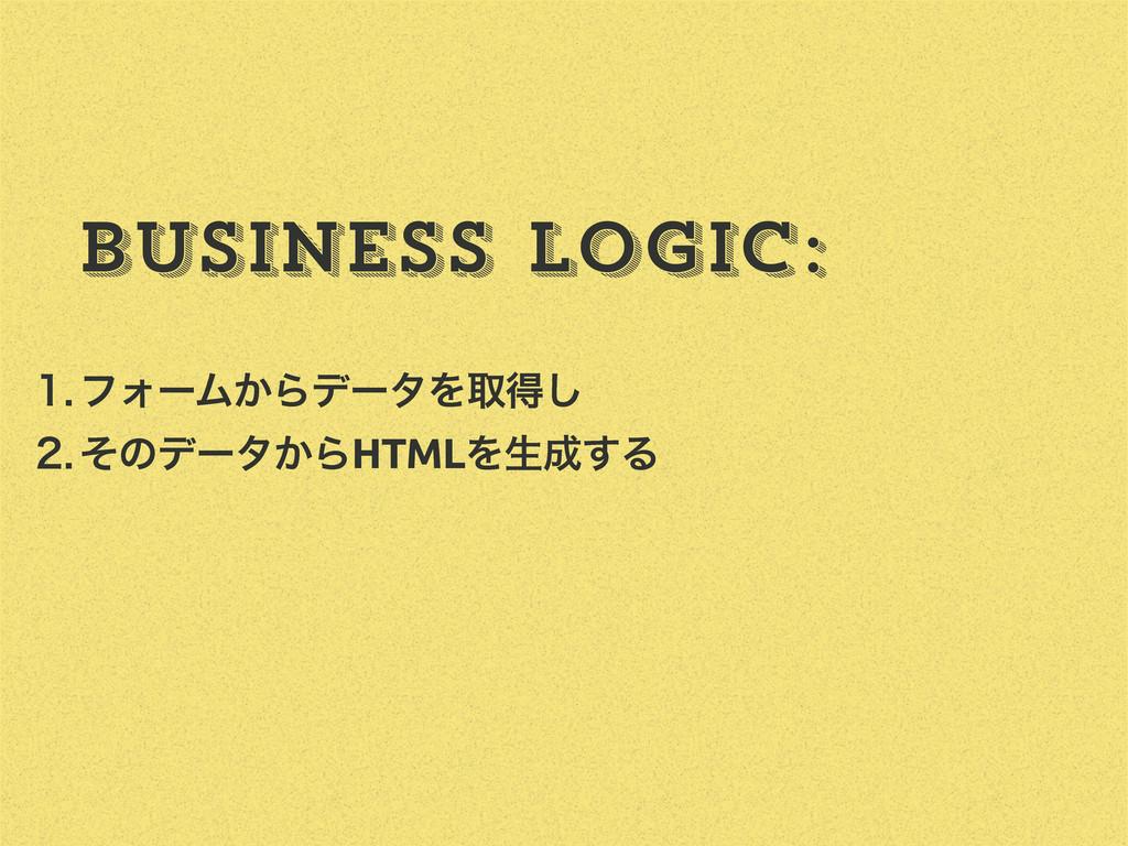 ϑΥʔϜ͔ΒσʔλΛऔಘ͠ ͦͷσʔλ͔ΒHTMLΛੜ͢Δ Business Log...