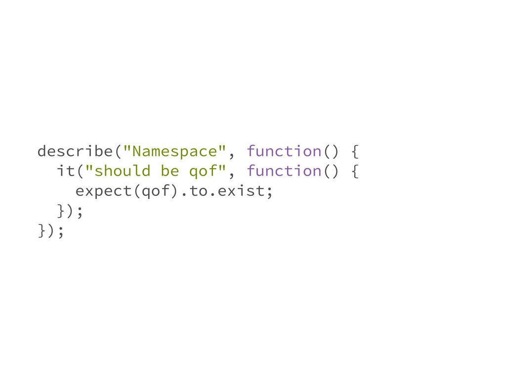 "describe(""Namespace"", function() { it(""should b..."