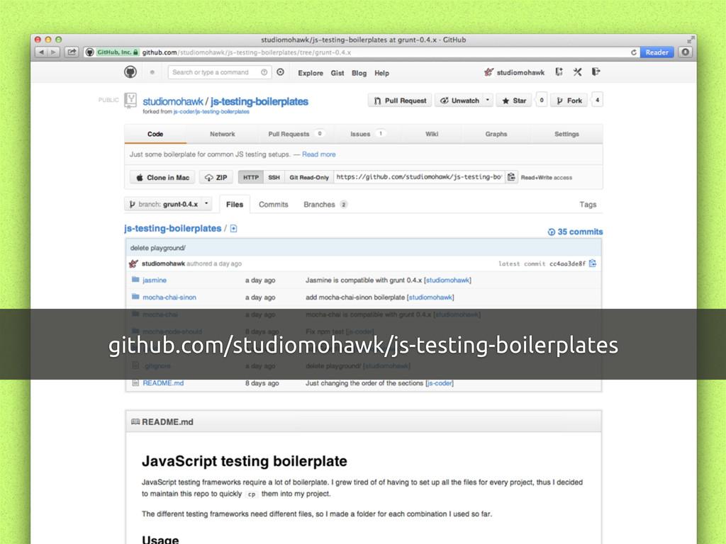 github.com/studiomohawk/js-testing-boilerplates