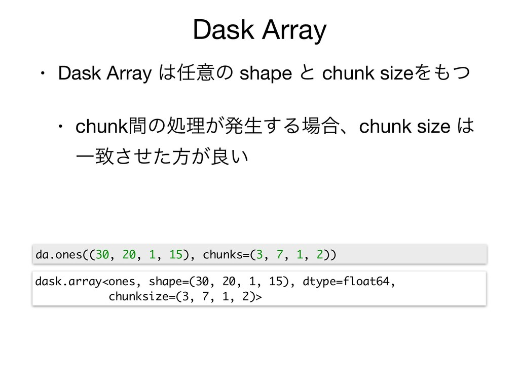Dask Array • Dask Array ͸೚ҙͷ shape ͱ chunk size...