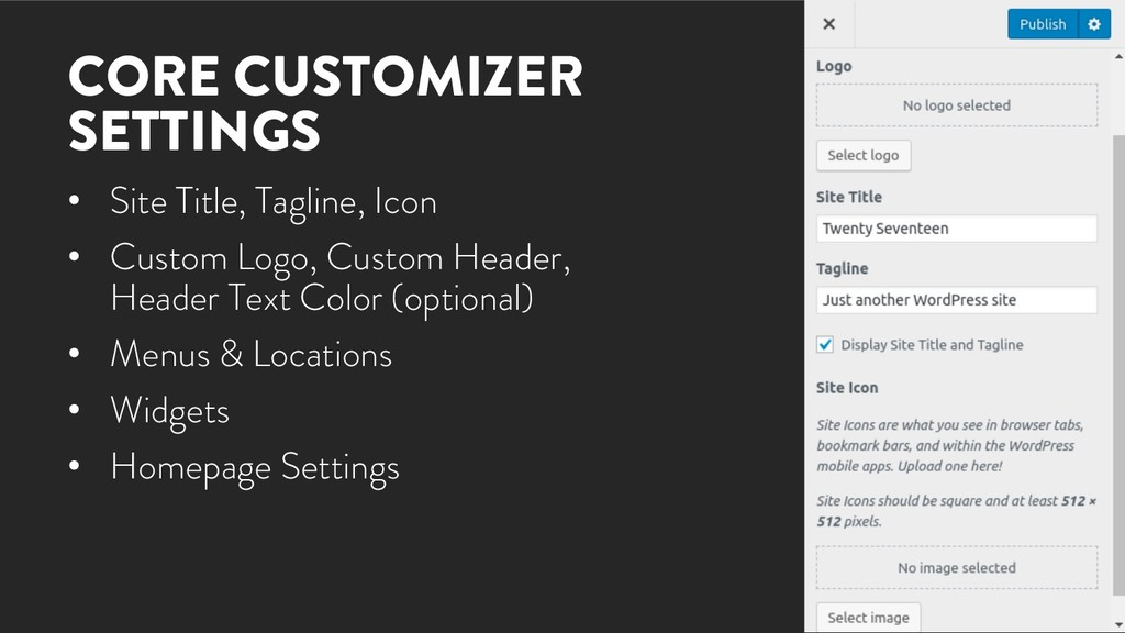 @marktimemedia CORE CUSTOMIZER SETTINGS • Site ...