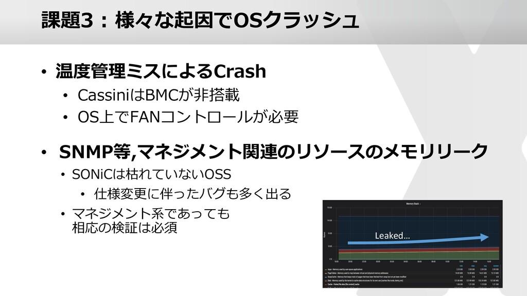 課題3 : 様々な起因でOSクラッシュ • 温度管理ミスによるCrash • Cassiniは...
