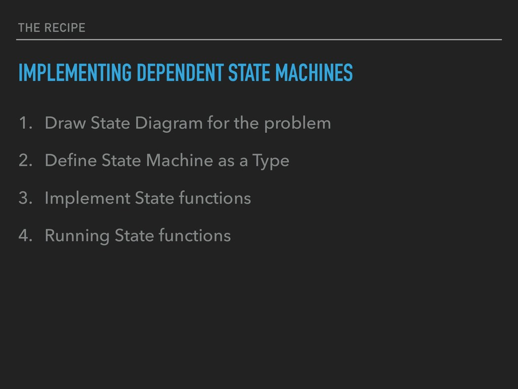 THE RECIPE IMPLEMENTING DEPENDENT STATE MACHINE...