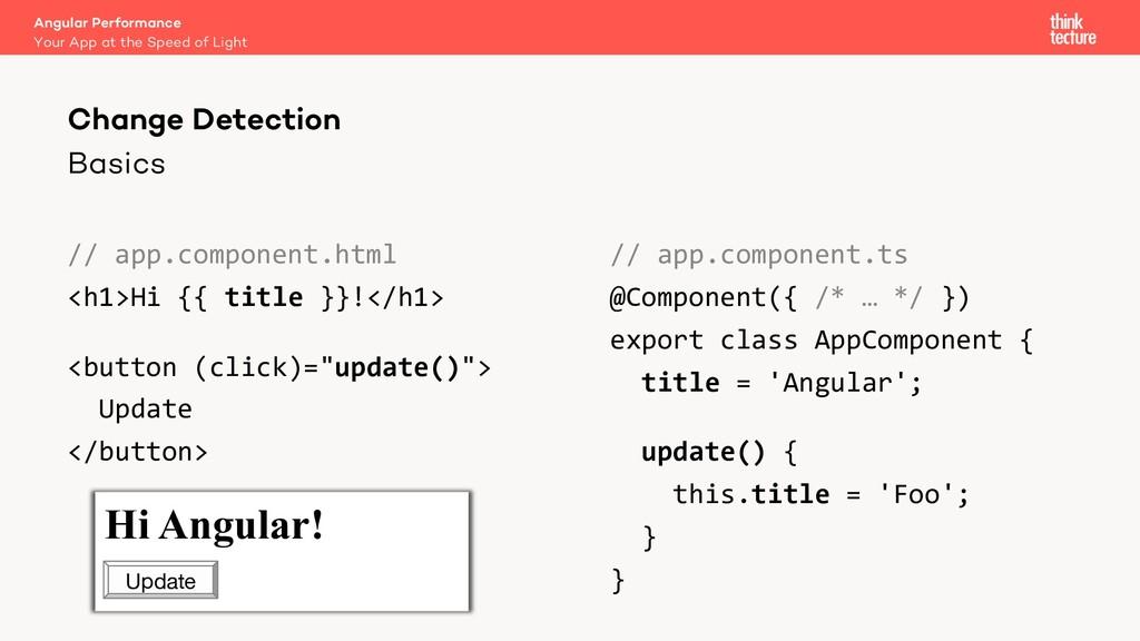 Basics // app.component.html <h1>Hi {{ title }}...