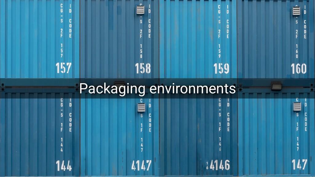 Packaging environments Packaging environments P...