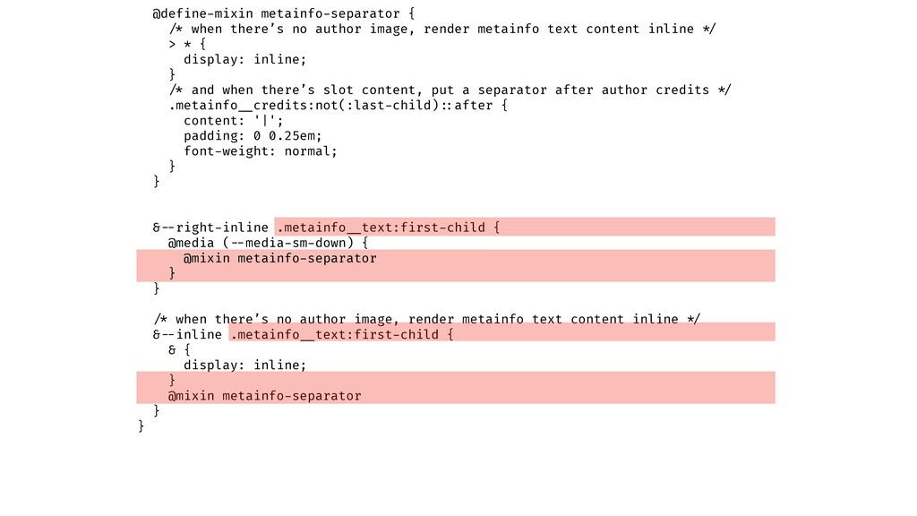 @define-mixin metainfo-separator { !/* when the...