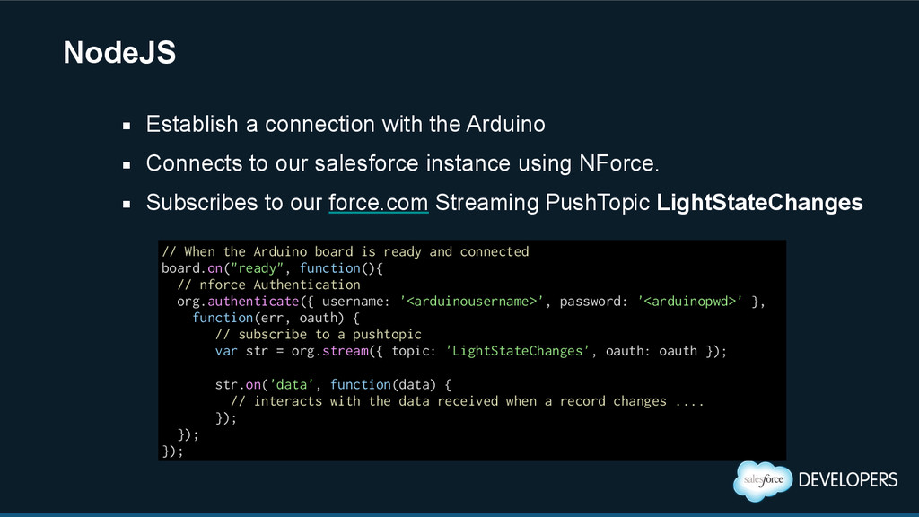 NodeJS ▪ Connects to our salesforce instance us...