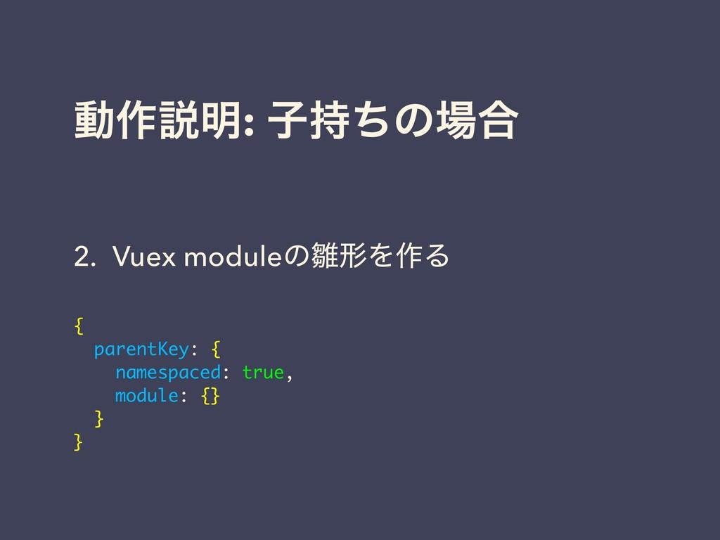 ಈ࡞આ໌: ࢠͪͷ߹ 2. Vuex moduleͷܗΛ࡞Δ { parentKey: ...