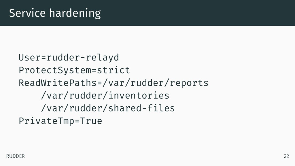Service hardening User=rudder-relayd ProtectSys...