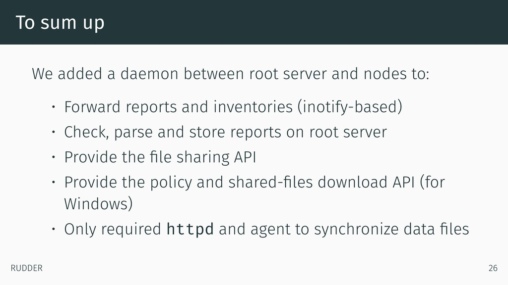To sum up We added a daemon between root server...